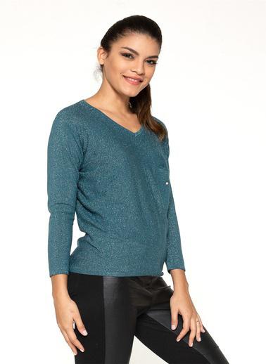 Optique Knitwear Yıldız Baskılı V Yaka Uzun Kol Triko Kazak Petrol